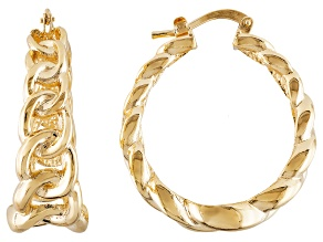 18k Yellow Gold Over Bronze Curb Link Hoop Earrings