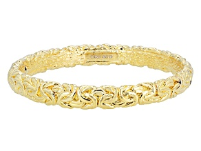 18k Yellow Gold Over Bronze Byzantine Bangle Bracelet 8 inch