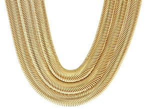 18k Yellow Gold Over Bronze Snake Link Necklace 26 inch