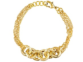 18k Yellow Gold Over Bronze Cable Link Bracelet 8 inch