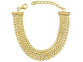 18k Yellow Gold Over Bronze Bead Link Bracelet 7.5 inch