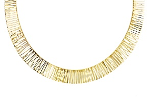 18k Yellow Gold Over Bronze Diamond Cut Cleopatra Necklace 17 inch