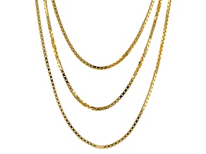 18k Yellow Gold Over Bronze Box Link Necklace 20 inch