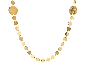 18k Yellow Gold Over Bronze Disk Necklace 36 inch