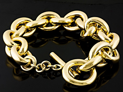 18k Yellow Gold Over Bronze Cable Link Bracelet 10 inch