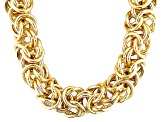 18k Yellow Gold Over Bronze Byzantine Link Necklace 28 inch 17mm