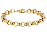 18k Yellow Gold Over Bronze Rolo Link Bracelet 7.75 inch 8.5mm