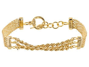 18k Yellow Gold Over Bronze Bismark Link Bracelet 8.75 inch