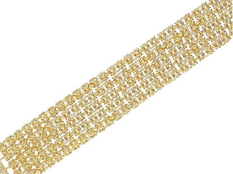 Lab Created Ruby 18k Yellow Gold Over Bronze Byzantine Link Bracelet