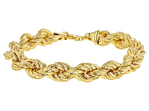 18k Yellow Gold Over Bronze Rope Link Bracelet 9.5 inch