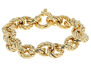 18k Yellow Gold Over Bronze Rolo Link Bracelet 8.25 inch