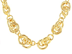 18k Yellow Gold Over Bronze Round Cable Link Necklace 19.5 inch