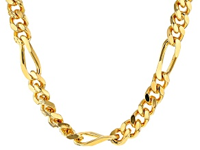 18k Yellow Gold Over Bronze Figaro Link Necklace 22 inch