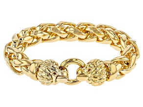 18k Yellow Gold Over Bronze Wheat Link Lion Head Bracelet 9 inch