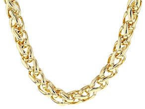 18k Yellow Gold Over Bronze Wheat Link Chain Necklace 20 inch 6mm