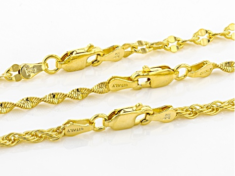 18k Yellow Gold Over Bronze Herringbone Cable Rope Link Chain Set Of 3