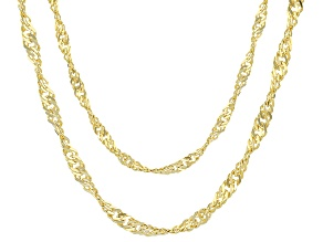 18k Yellow Gold Over Bronze Singapore Link Chain Necklace Set Of 2 20/24 inch