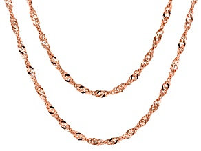 18k Rose Gold Over Bronze Singapore Chain Necklace Set Of Two