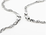 Rhodium Over Bronze Singapore Chain Necklace Set Of Two