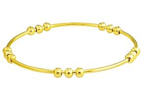 18k Yellow Gold Over Bronze Bead Station Bangle Bracelet 8 inch
