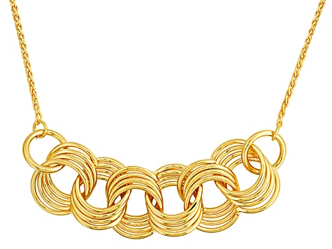 18k Yellow Gold Over Bronze Wheat Link Circle Necklace 18 inch