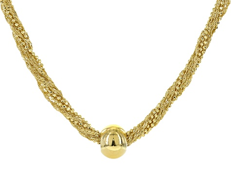 ce52404258213 18k Yellow Gold Over Bronze Multi-Strand Ball Necklace 18 inch