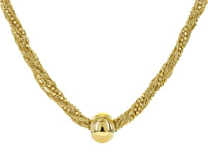 18k Yellow Gold Over Bronze Multi-Strand Ball Necklace 18 inch