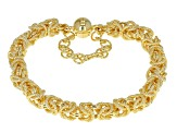 18k Yellow Gold Over Bronze Byzantine Link Bracelet 7.5 inch