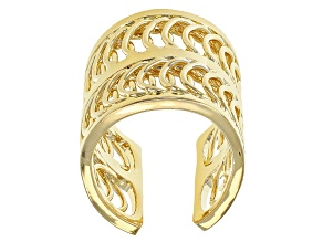 18k Yellow Gold Over Bronze Wide Band Ring