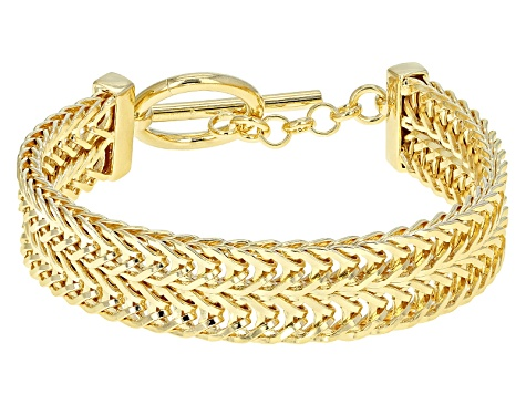 18k Yellow Gold Over Bronze Wheat Link Bracelet 7 inch
