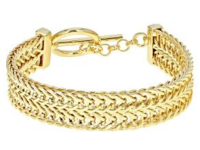 18k Yellow Gold Over Bronze Wheat Link Bracelet 7 inch