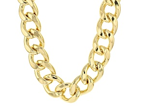 18k Yellow Gold Over Bronze Curb Link Necklace 22 inch