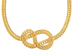 18k Yellow Gold Over Bronze Wheat Link Necklace 20 inch