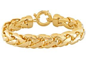 18k Yellow Gold Over Bronze Wheat Link Bracelet 8 inch