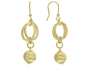 18k Yellow Gold Over Bronze Dangle Earrings
