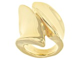 18k Yellow Gold Over Bronze Statement Ring