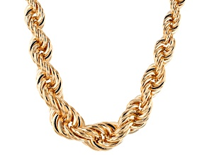 18k Yellow Gold Over Bronze Rope Link Necklace