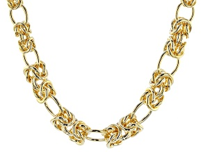 18k Yellow Gold Over Bronze Byzantine Station Necklace 24 inch