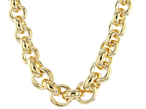 18k Yellow Gold Over Bronze Rolo Link Necklace 20 inch