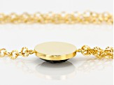 Black Onyx 18k Yellow Gold Over Bronze Cable Link Necklace 22 inch 1.00ct