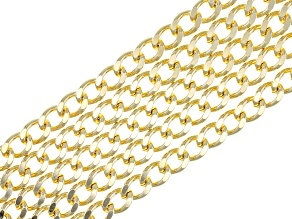 18k Yellow Gold Over Bronze Curb Link Bracelet 7.5 inch