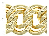 18k Yellow Gold Over Bronze Curb Link Bracelet 8.5 inch