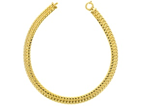 18k Yellow Gold Over Bronze Curb Link Necklace 20 inch