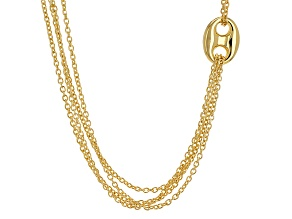 18k Yellow Gold Over Bronze Cable Link Necklace 30 inch