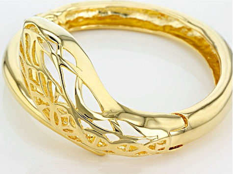 18k Yellow Gold Over Bronze Snake Bracelet 8 inch