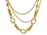 18k Yellow Gold Over Bronze Multi-Strand Necklace 19.5 inch