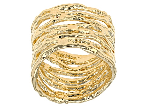 18k Yellow Gold Over Bronze Multi-Strand Hammered Ring