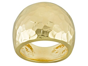 18k Yellow Gold Over Bronze Dome Ring