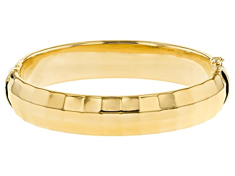 18k Yellow Gold Over Bronze Bangle Bracelet 7 inch