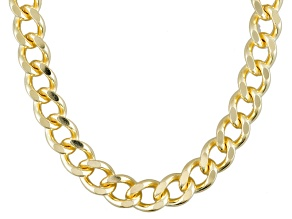 18k Yellow Gold Over Bronze Curb Link Necklace 34 inch